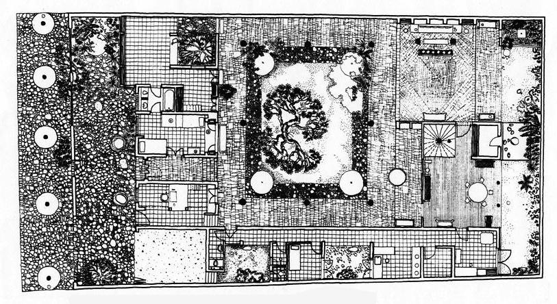 ลักษณะแปลนบ้าน osmund ena de silva house ที่มีคอร์ดต้นไม้ขนาดใหญ่อยู่กลางบ้าน