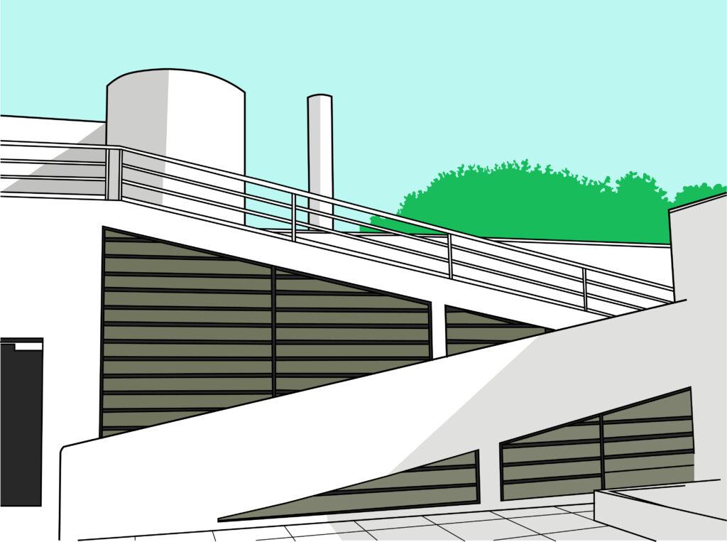 ลักษณะพื้นที่ชั้น 3 ที่เป็นสวนลอยฟ้า ที่มีการออกแบบทางลาดเชื่อมโยงพื้นที่ภายในและภายนอก